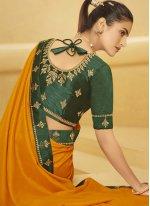 Patch Border Mustard Designer Traditional Saree