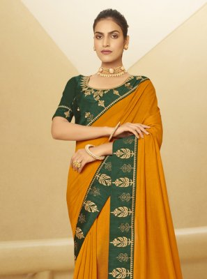 Patch Border Mustard Designer Traditional Saree