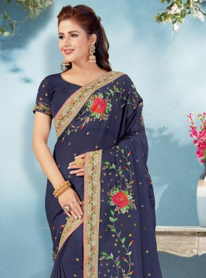 Patch Border Navy Blue Faux Georgette Classic Designer Saree