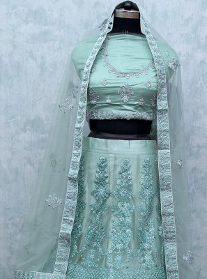 Patch Border Net Sea Green Lehenga Choli