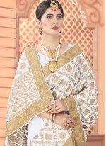 Patch Border Off White Classic Designer Saree