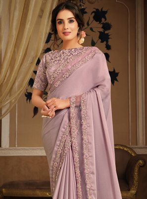 Patch Border Pink Classic Designer Saree