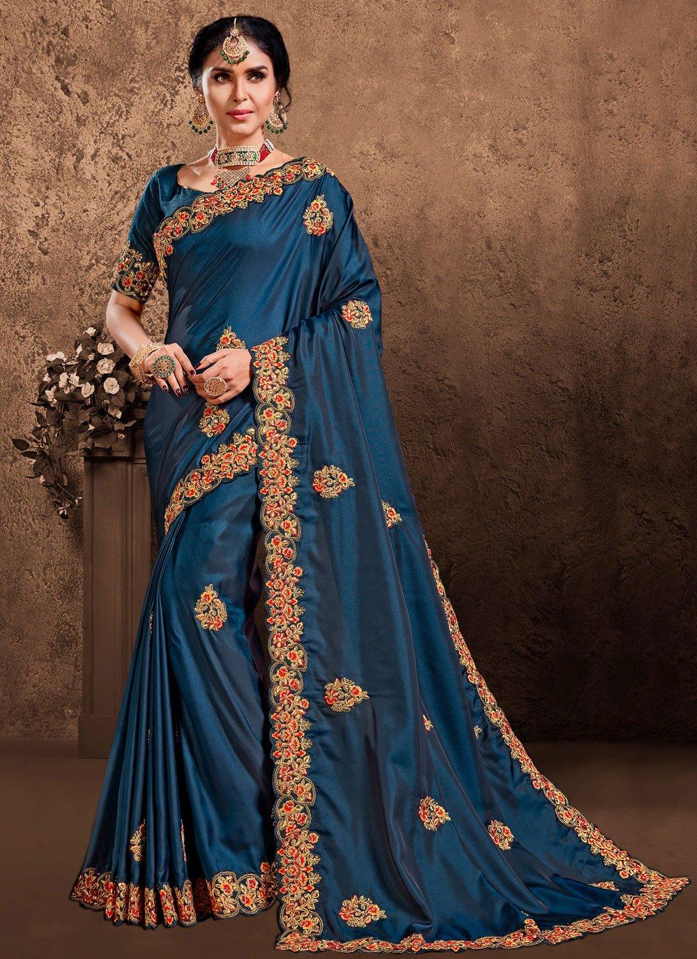 Patch Border Poly Silk Designer Saree in Blue