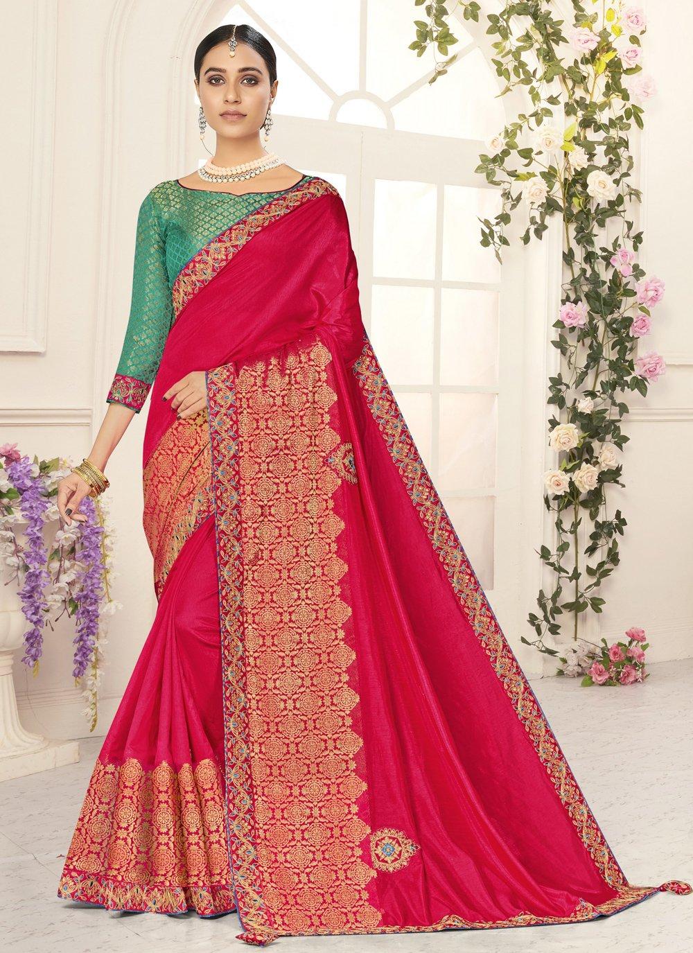 Patch Border Poly Silk Designer Traditional Saree
