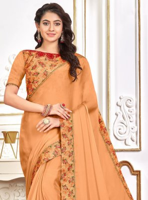 Patch Border Poly Silk Orange Traditional Saree
