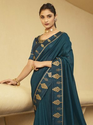 Patch Border Rama Silk Traditional Designer Saree