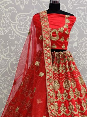 Patch Border Red A Line Lehenga Choli