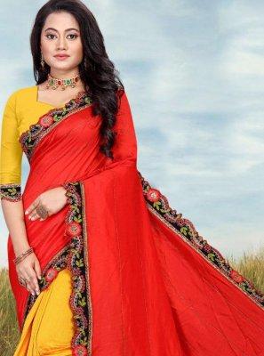 Patch Border Red and Yellow Designer Half N Half Saree