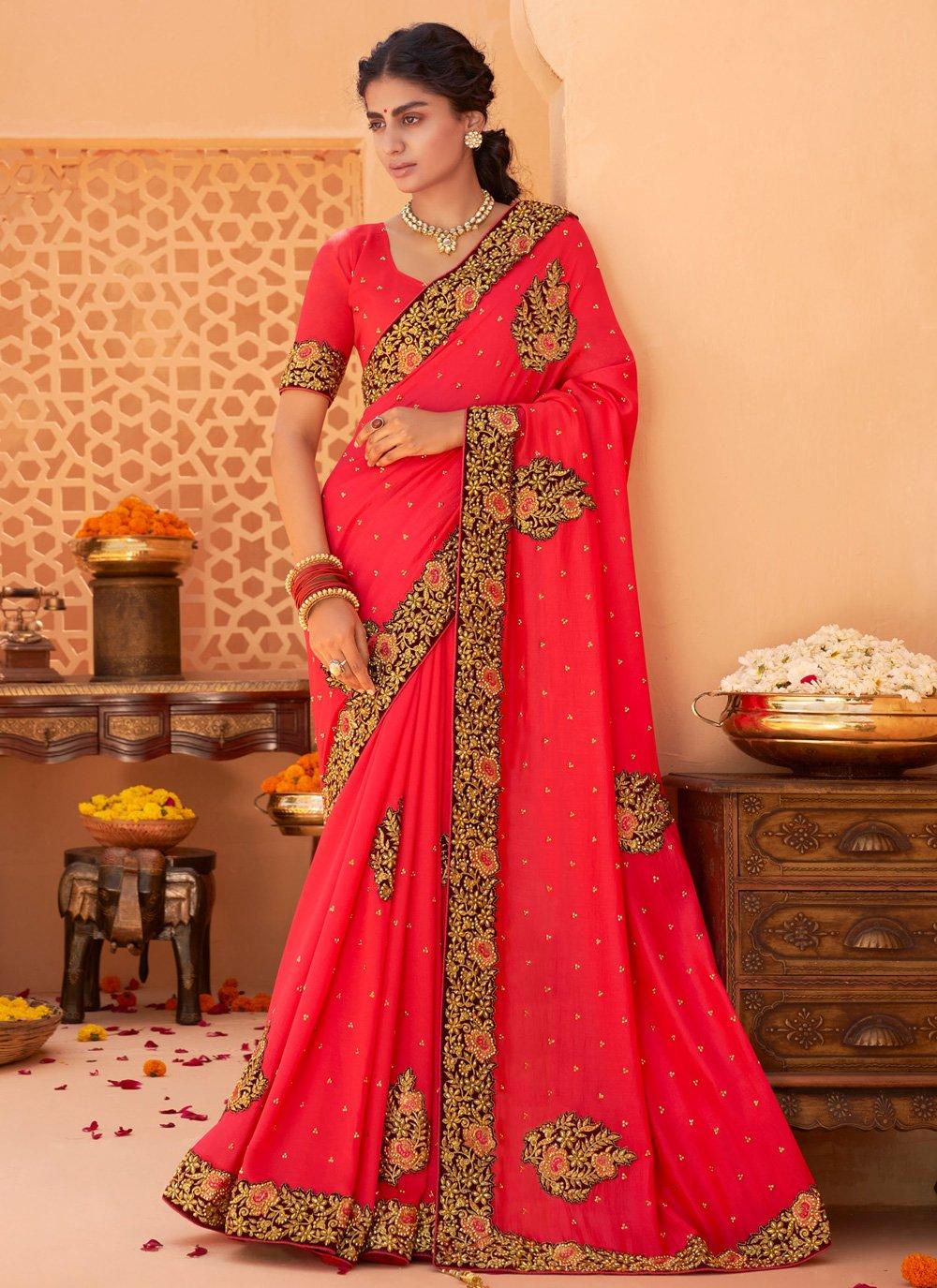 Patch Border Red Designer Saree