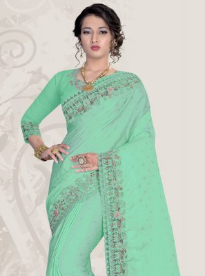 Patch Border Satin Sea Green Classic Saree