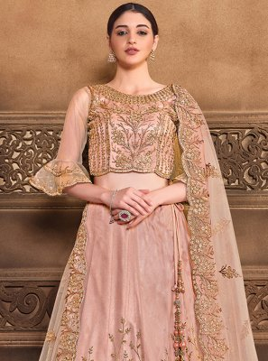 Patch Border Satin Silk Peach Lehenga Choli