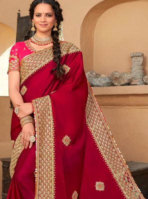 Patch Border Silk Designer Saree in Rani