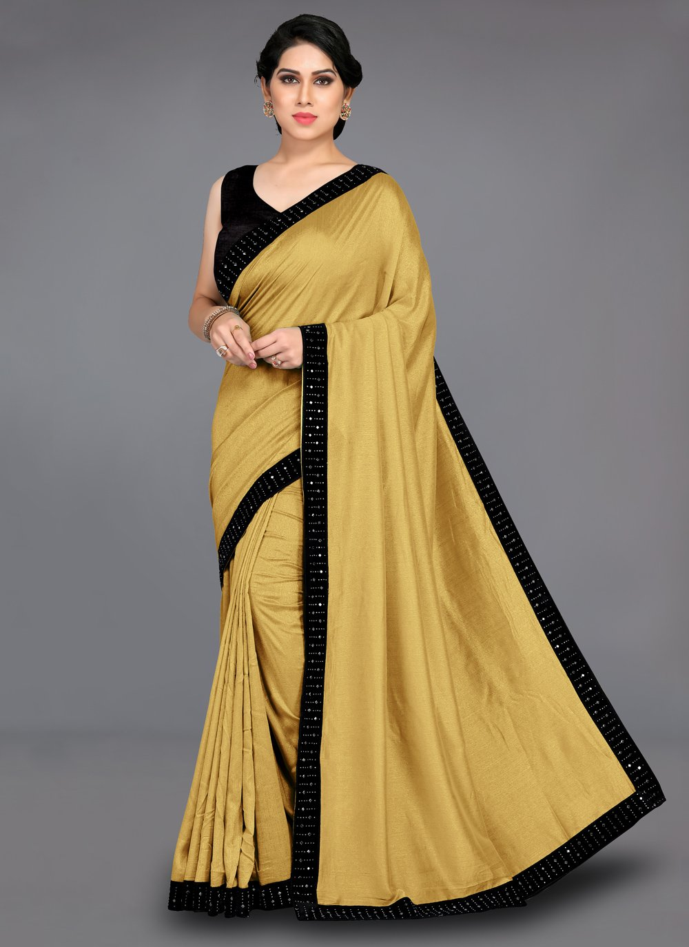 Patch Border Silk Gold Traditional Saree