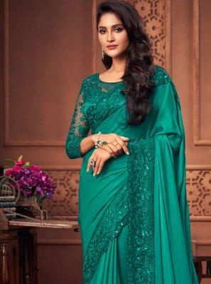 Patch Border Silk Green Designer Saree