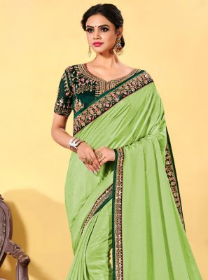 Patch Border Silk Green Designer Traditional Saree