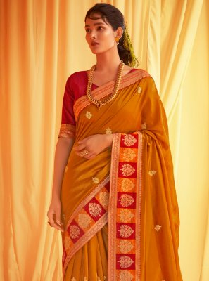 Patch Border Silk Mustard Traditional Designer Saree
