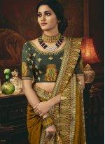 Patch Border Silk Mustard Traditional Designer Saree