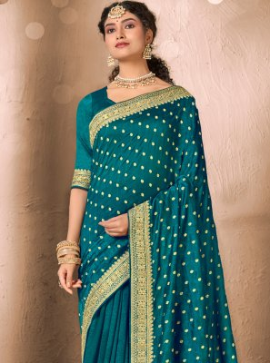 Patch Border Silk Rama Traditional Saree