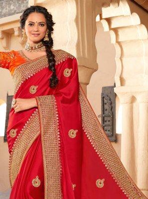 Patch Border Silk Red Designer Saree