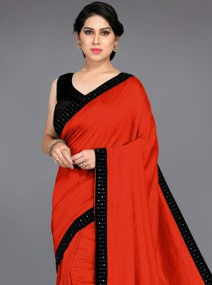 Patch Border Silk Traditional Saree in Orange