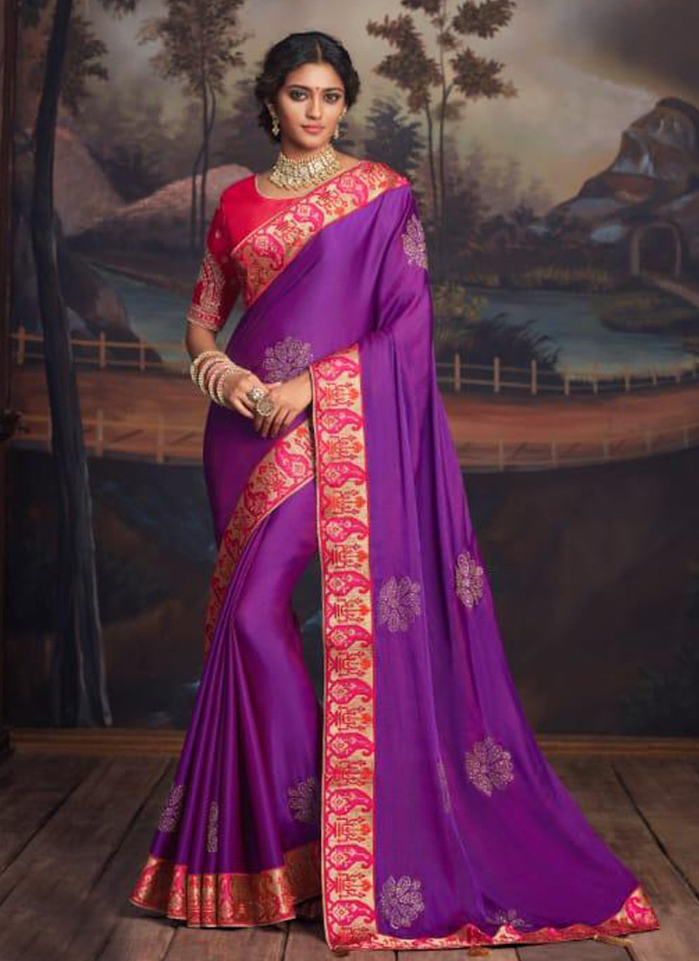 Patch Border Silk Traditional Saree in Purple
