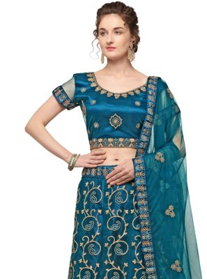 Patch Border Teal Net Lehenga Choli