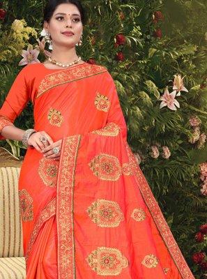 Patch Border Vichitra Silk Designer Traditional Saree