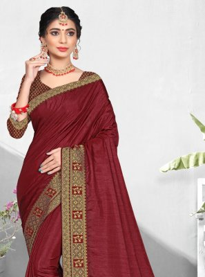 Patch Border Vichitra Silk Maroon Designer Traditional Saree