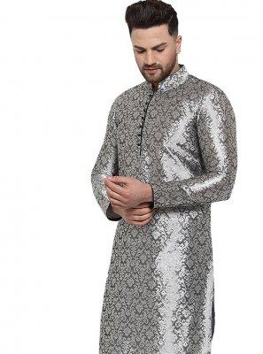 Patchwork Banarasi Silk Kurta Pyjama in Grey