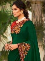 Patchwork Chanderi Green Traditional Saree