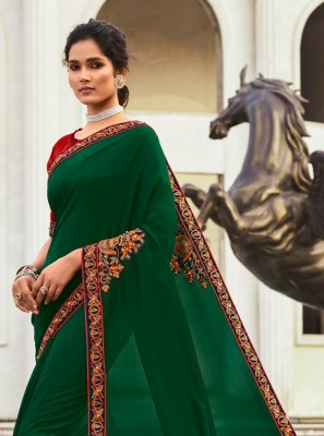 Patchwork Chanderi Green Traditional Saree