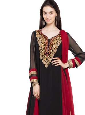 Patchwork Faux Georgette Indo Western in Black
