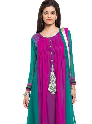 Patchwork Faux Georgette Purple Readymade Churidar Salwar Kameez