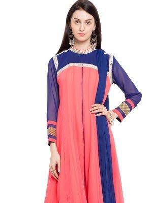 Patchwork Mehndi Readymade Anarkali Salwar Suit