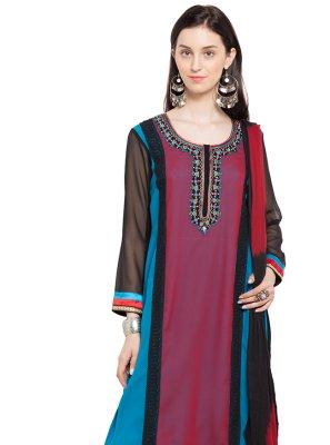 Patchwork Multi Colour Faux Georgette Readymade Anarkali Salwar Suit