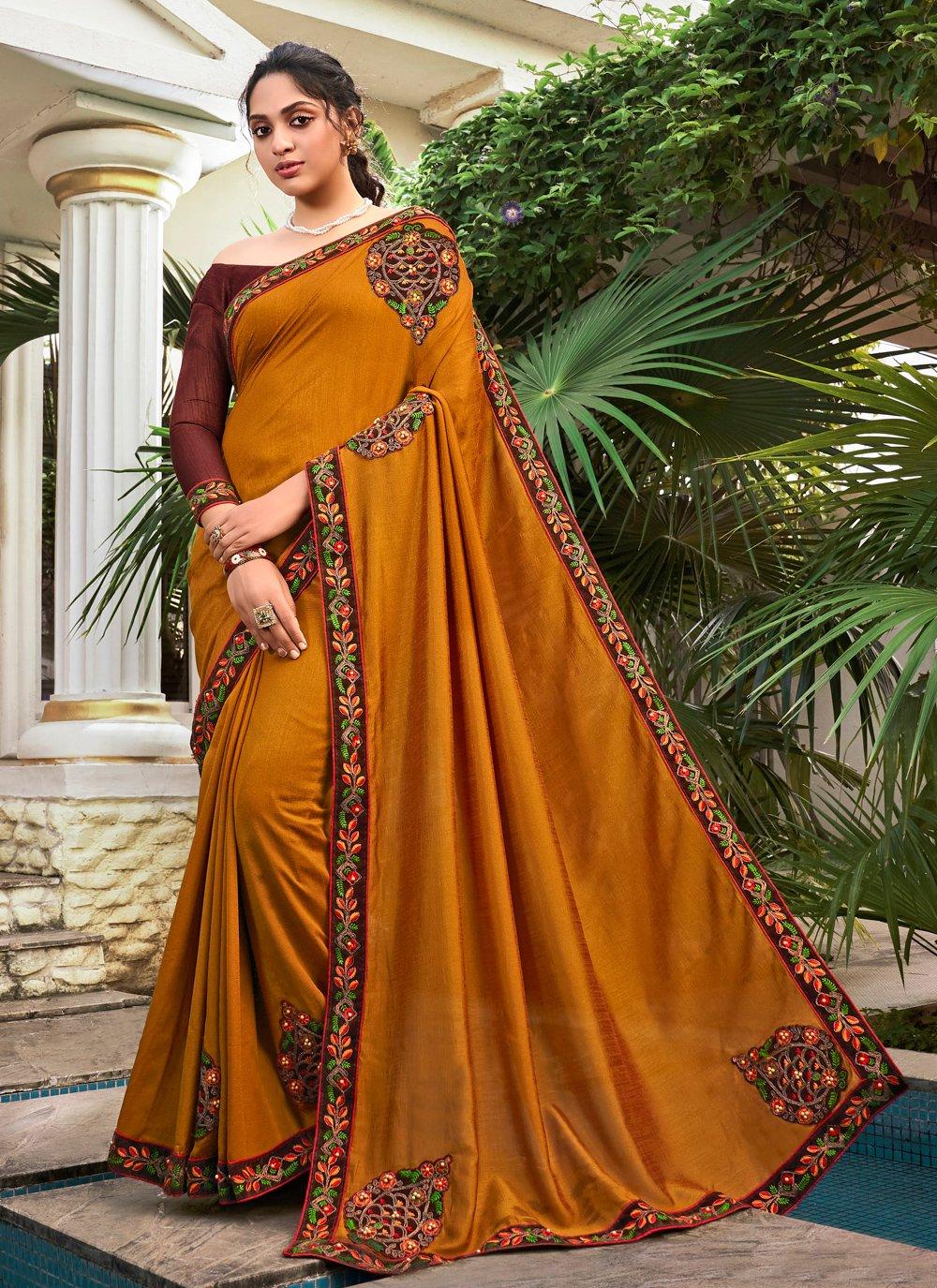 Patchwork Mustard Chanderi Classic Designer Saree