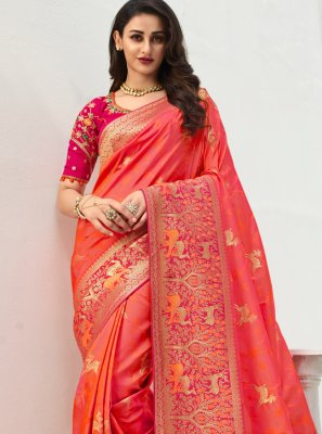 Peach and Pink Embroidered Traditional Saree