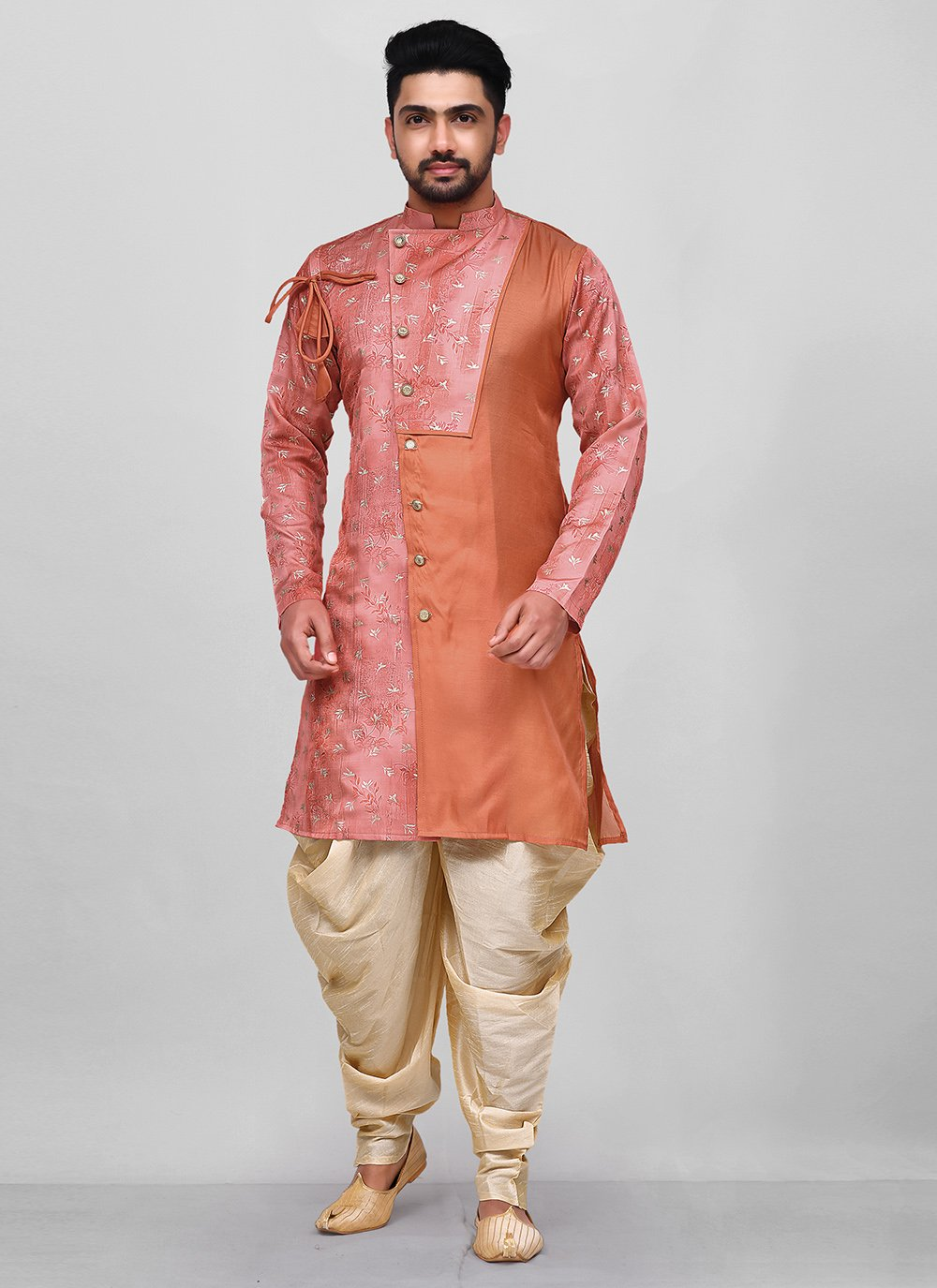 Peach and Pink Festival Art Silk Dhoti Kurta