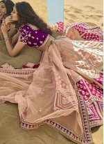 Peach and Purple Sangeet A Line Lehenga Choli