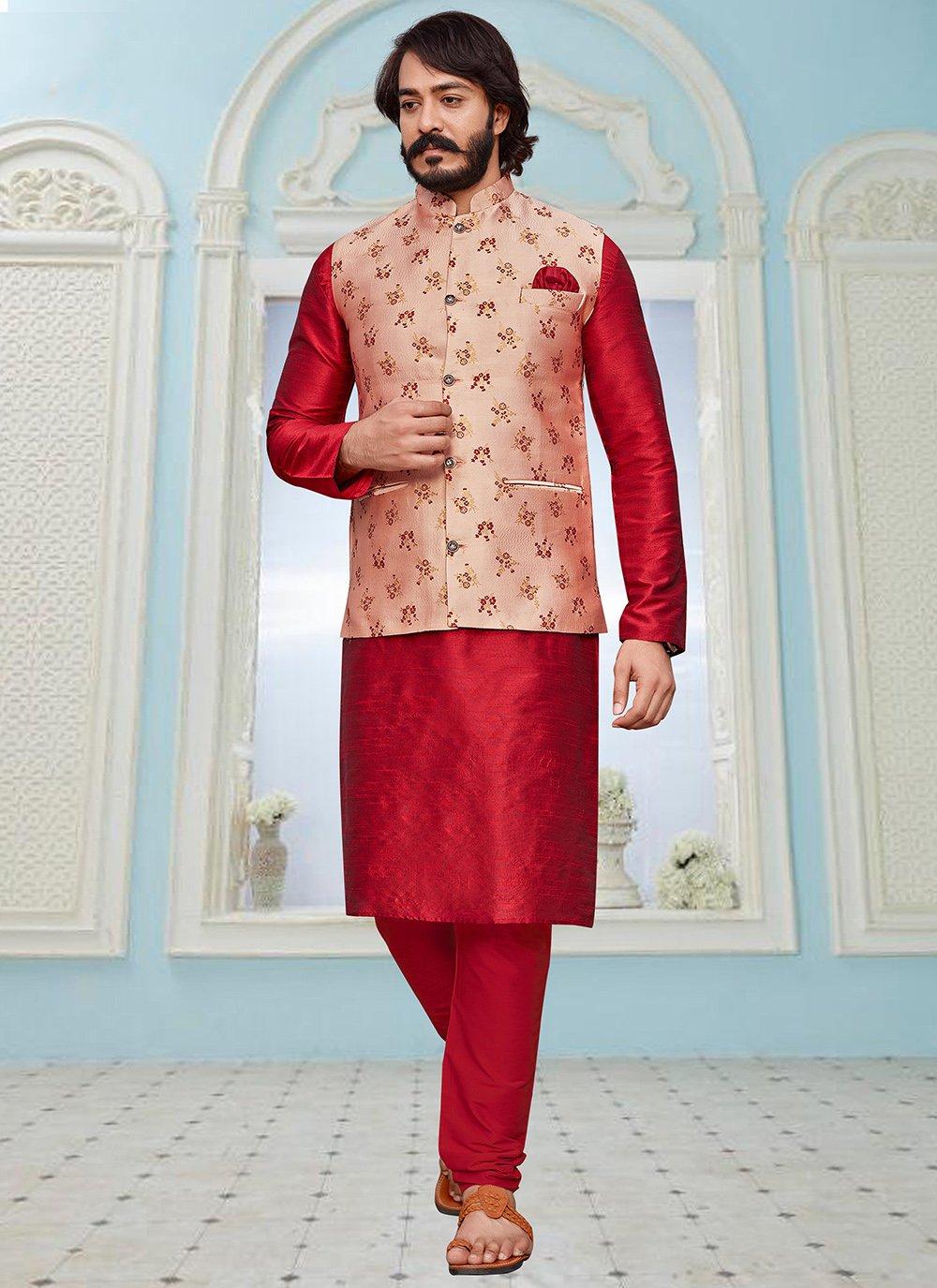 Peach and Red Art Silk Printed Kurta Payjama With Jacket