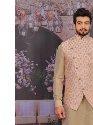 Peach Art Banarasi Silk Reception Kurta Payjama With Jacket