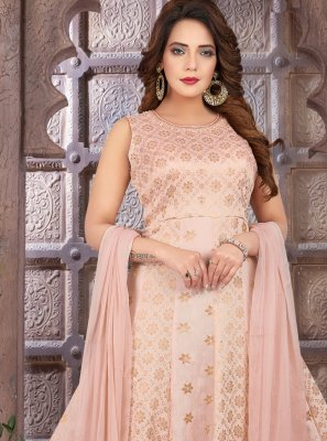 Peach Art Silk Mehndi Floor Length Anarkali Suit
