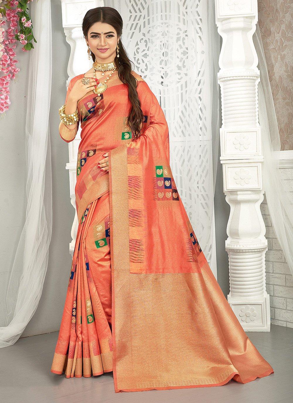 Peach Art Silk Traditional Saree
