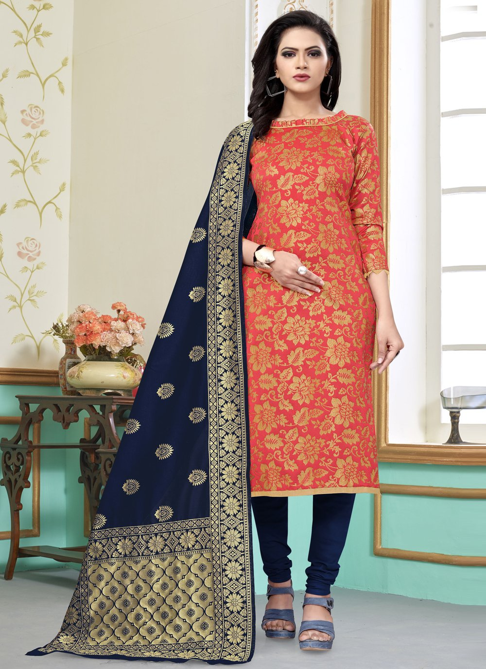 Peach Banarasi Silk Churidar Salwar Suit