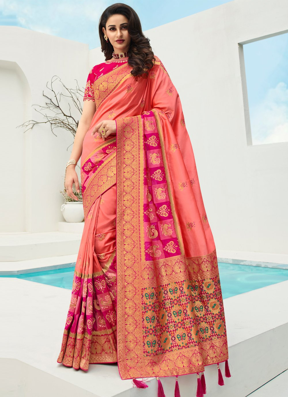 Peach Banarasi Silk Embroidered Traditional Designer Saree