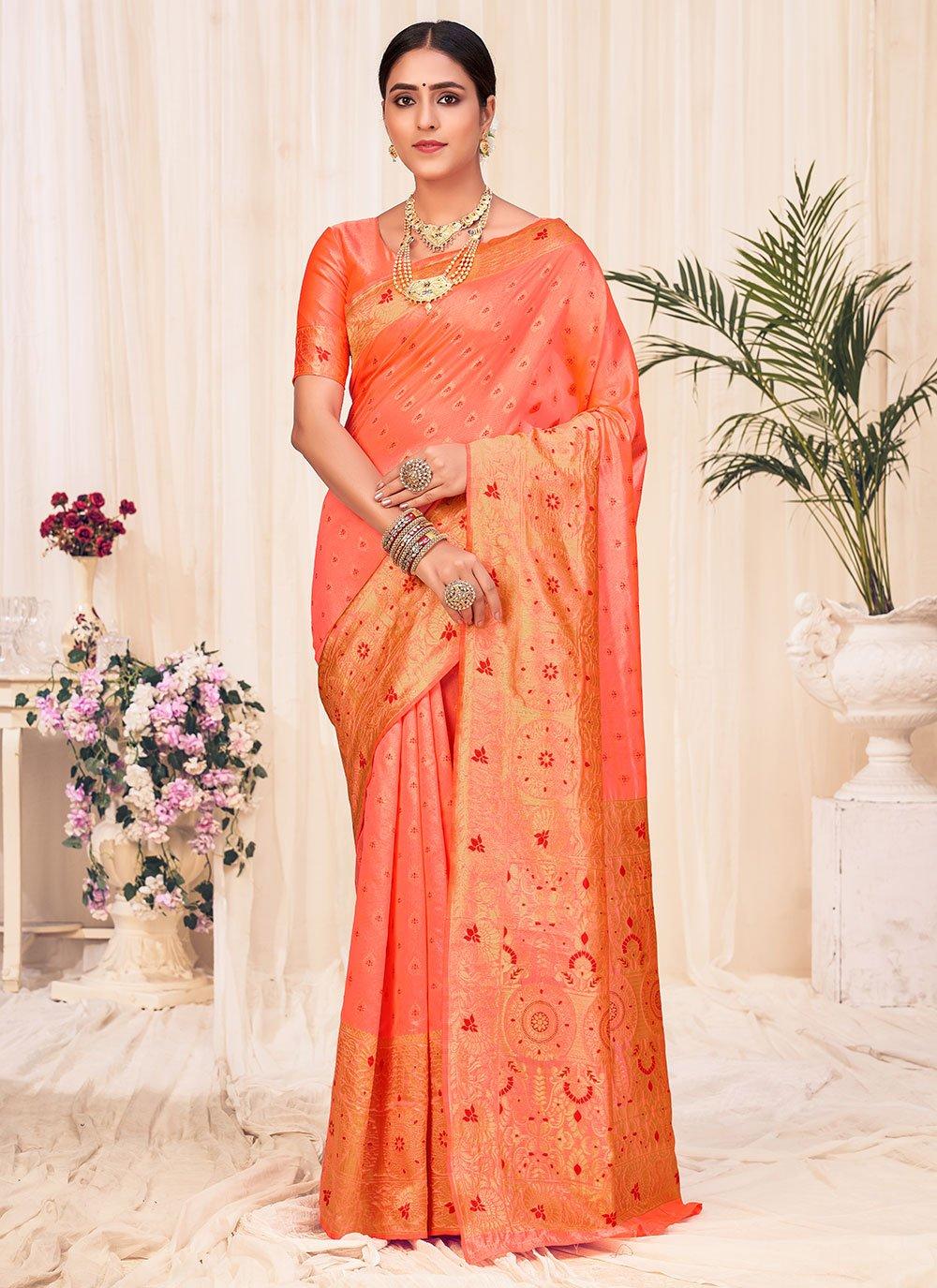 Peach Banarasi Silk Festival Traditional Designer Saree