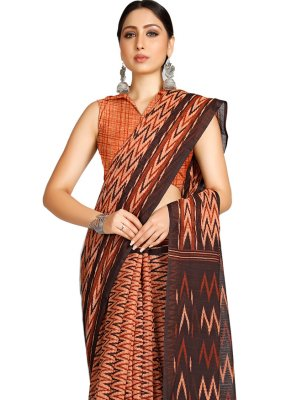 Peach Casual Blended Cotton Casual Saree
