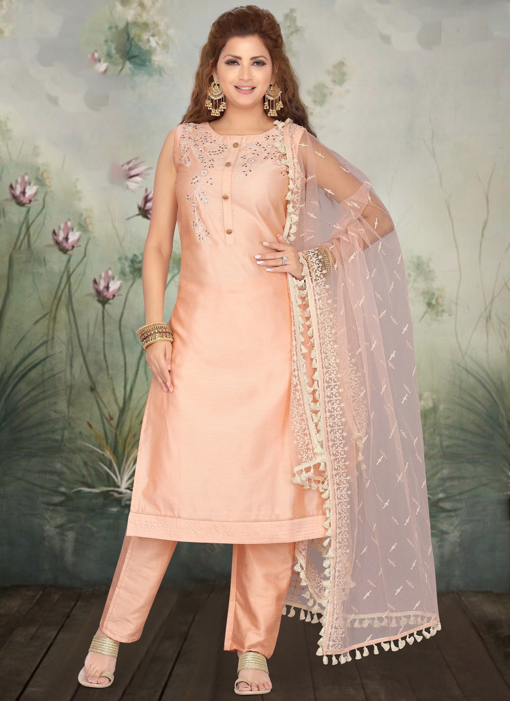 Peach Ceremonial Art Silk Pant Style Suit