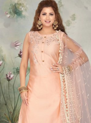 Peach Ceremonial Art Silk Pant Style Suit