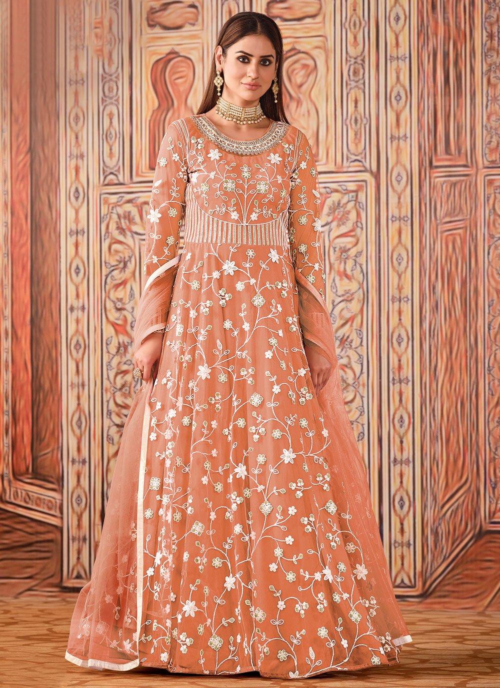 Peach Ceremonial Floor Length Designer Suit